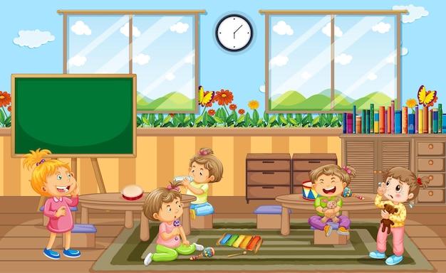 Scène de salle de maternelle avec beaucoup de petits enfants