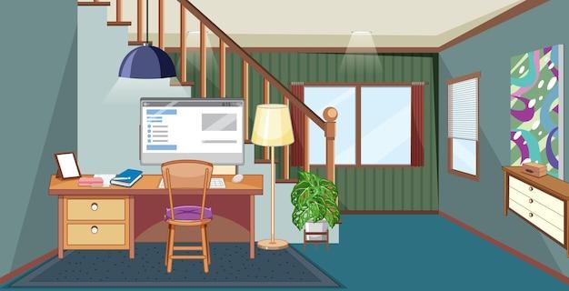 Scène de la salle de travail avec ordinateur sur la table