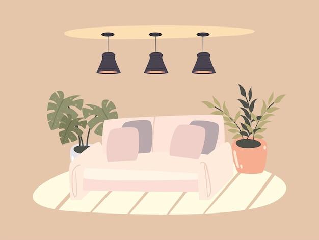 Scène de salon avec canapé