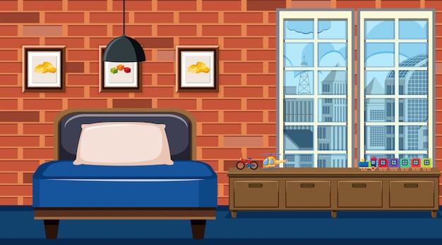Scène avec siège bleu et tiroirs en bois dans la chambre