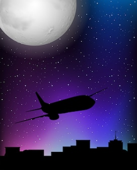 Scène de silhouette avec un avion qui vole la nuit