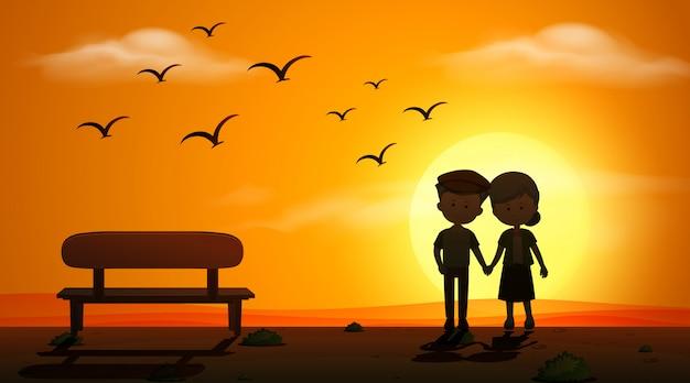 Scène de silhouette avec vieux couple se tenant la main pendant la nuit