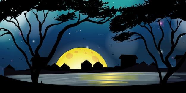 Scène de silhouette avec la ville pendant la nuit