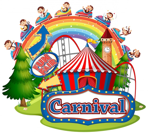 Scène avec des singes à cheval au carnaval sur fond blanc