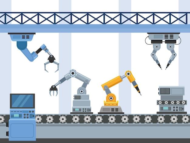 Scène de six machines de production