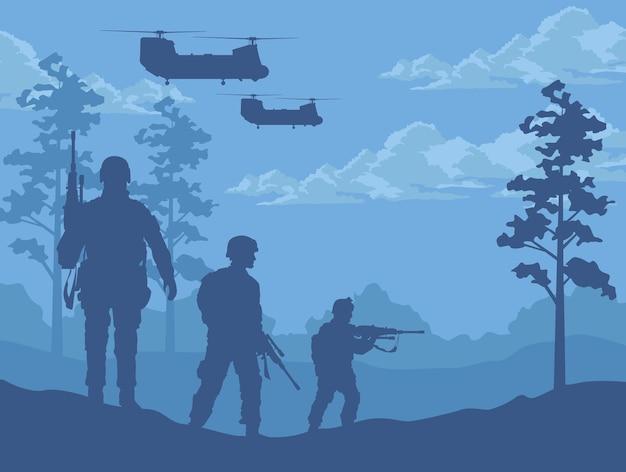Scène de soldats et d'hélicoptères