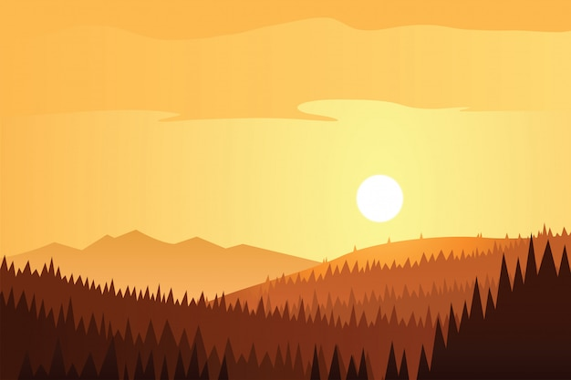Scène soleil et forêt et montagnes