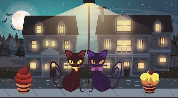 Scène sombre d'halloween avec des chats noirs