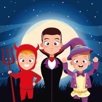 Scène sombre halloween avec personnages déguisés pour enfants