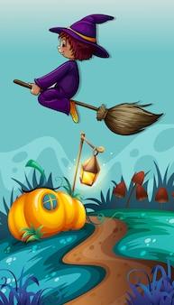 Scène avec une sorcière sur un balai volant