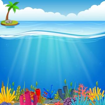 Scène sous-marine avec corail tropical