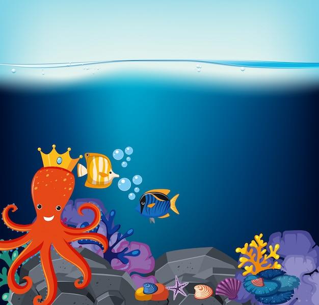 Scène sous-marine avec poulpe et poisson