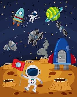 Scène spatiale avec des astronautes et des vaisseaux spatiaux