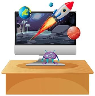 Scène spatiale sur fond de bureau d'ordinateur