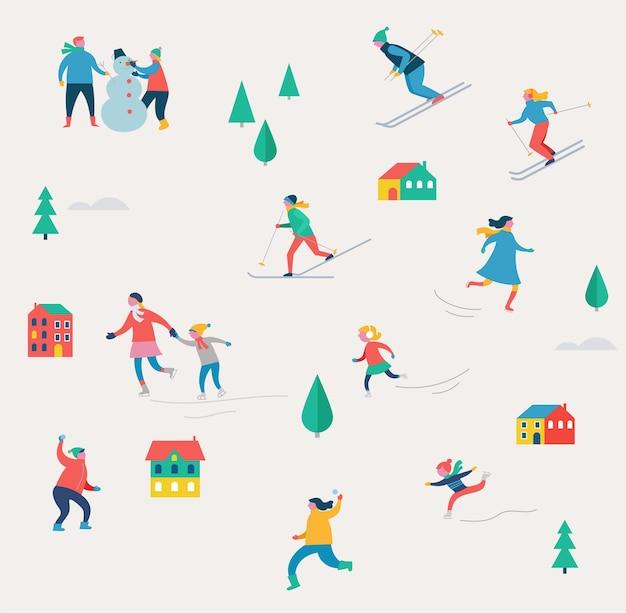 Scène de sport d'hiver, événement de rue de noël, festival et foire, avec des gens, des familles se moquent