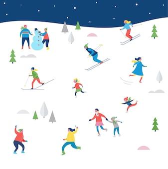 Scène de sport d'hiver, événement de rue de noël