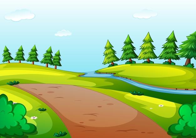 Scène de style dessin animé de parc naturel