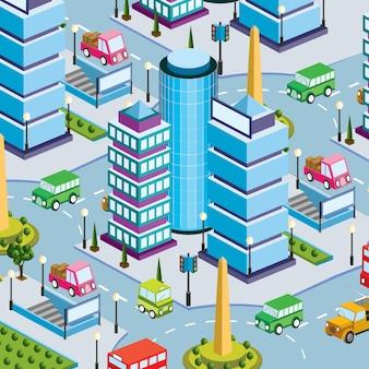 Scène de style de vie urbain illustration 3d isométrique d'un pâté de maisons avec des maisons, des rues, des gens, des voitures. illustration pour l'industrie du design et des jeux.