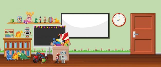Scène avec tableau blanc et jouets