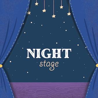 Scène de théâtre de nuit de dessin animé avec des rideaux bleu foncé