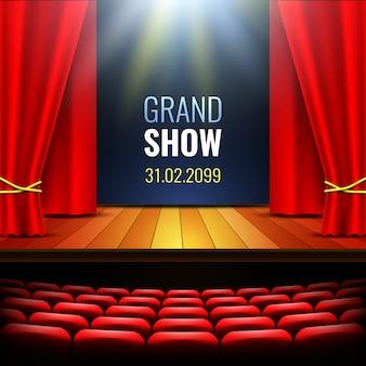 Scène de théâtre avec rideau. podium. salle de concert. affiche pour le spectacle.