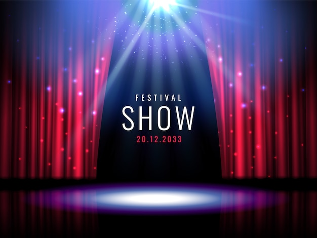 Scène de théâtre avec rideau rouge et projecteurs