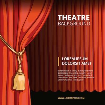 Scène de théâtre avec un rideau rouge. vintage dans un style bande dessinée. spectacle concert de performance, cinéma de présentation