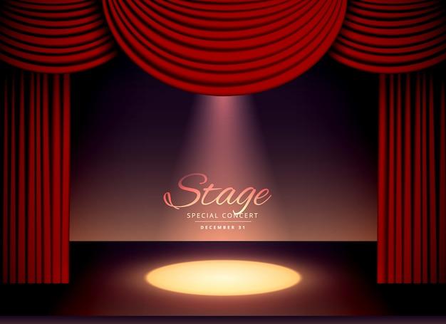 Scène de théâtre avec des rideaux rouges et des projecteurs