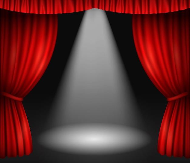 Scène de théâtre avec rideaux rouges et projecteurs.
