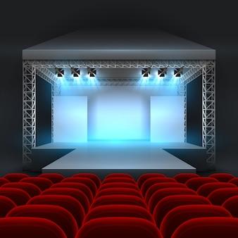 Scène de théâtre vide avec éclairage par projecteurs. salle de concert avec rangées de podiums et de sièges rouges. spectacle sur scène, intérieur du podium pour conférence et performance. illustration vectorielle