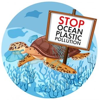 Scène avec tortue de mer tenant stop pollution plastique