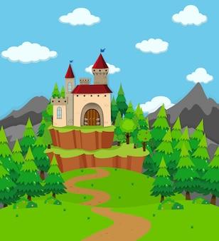 Scène avec la tour du château dans le domaine