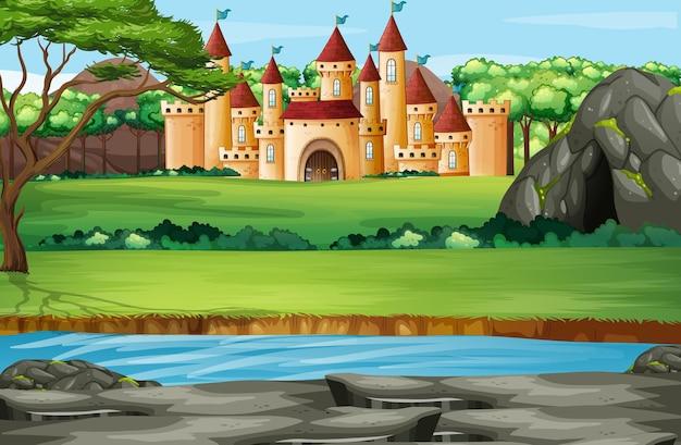 Scène avec des tours de château dans le parc