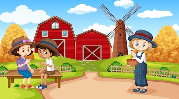 Scène avec trois enfants travaillant à la ferme