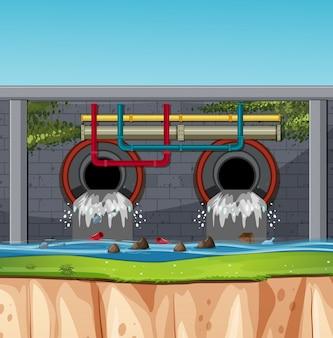 Une scène de tunnel d'égout