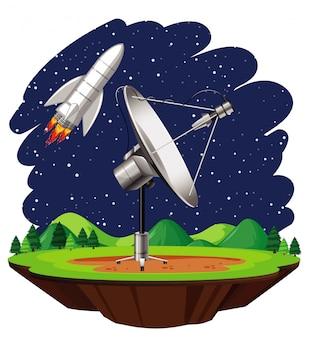 Scène avec vaisseau spatial volant dans le ciel