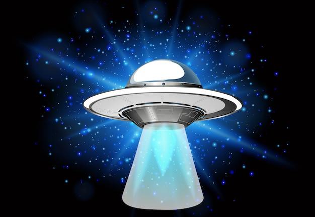 Scène avec vaisseau spatial volant dans la galaxie sombre