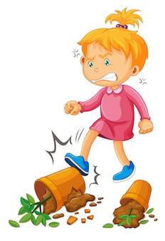 Scène de vandalisme avec une fille donnant des coups de pied dans des pots en argile