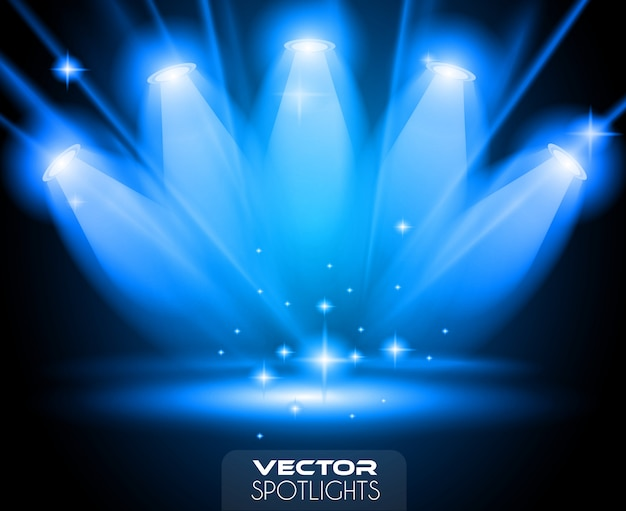 Scène vector spotlights avec différentes sources de lumière pointant vers le sol ou une étagère.