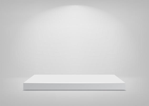 Scène vide. fond blanc. podium pour la présentation. illustration.