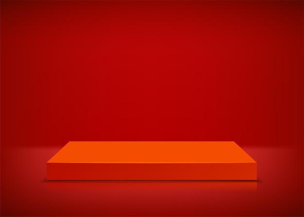 Scène vide. fond rouge. podium pour la présentation.