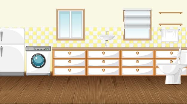 Scène vide avec machine à laver et réfrigérateur dans les toilettes