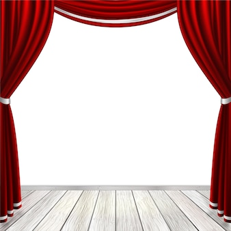Scène vide avec des rideaux rouges isolés sur blanc