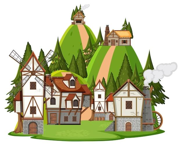 Scène de village médiéval sur fond blanc
