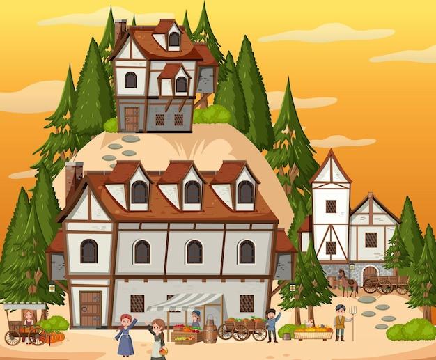 Scène de village médiéval avec des villageois