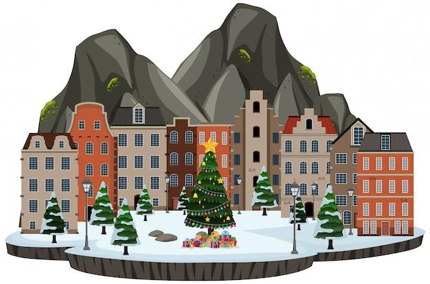 Scène de ville de construction de neige isolée