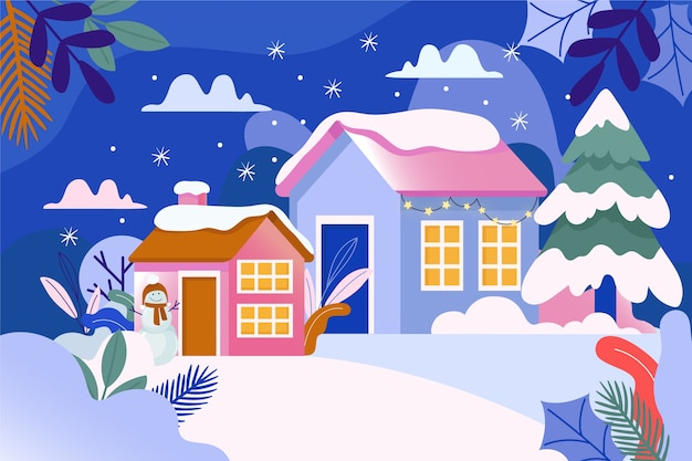 Scène de ville d'hiver entourée de neige