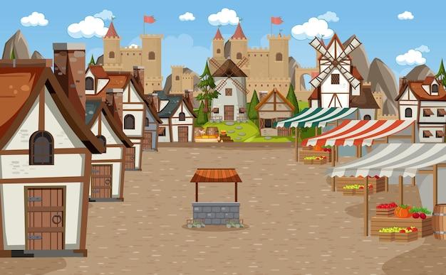 Scène de ville médiévale avec place du marché