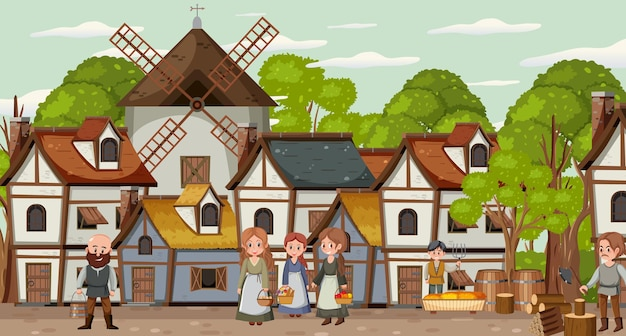 Scène de ville médiévale avec villageois