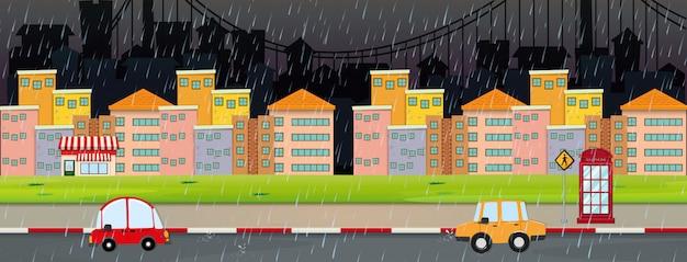 Scène de la ville pendant la nuit le jour de la pluie